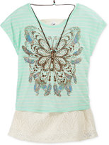 Beautees Layered-Look Graphic Top & Necklace, Big Girls (7-16)