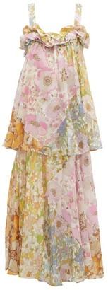 Zimmermann Super Eight Floral-print Chiffon Dress - Womens - Pink Print