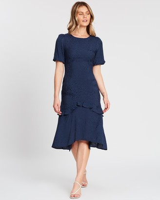 Dorothy Perkins Satin Ruffle Jacquard Midi Dress