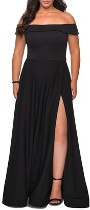 La Femme Off the Shoulder Foldover Neckline Gown