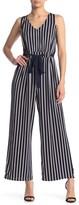 Love Squared Grommet Tie Waist Stripe Print Jumpsuit