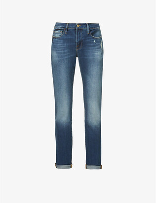 Frame Ladies Blue Cotton Ripped Le Garcon Mid-Rise Straight Jeans, Size: 24
