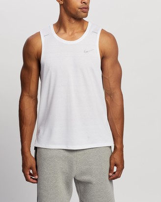 Nike Men's White Muscle Tops - Dri-FIT Miler Running Tank - Size S at The Iconic
