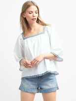 Gap Denim square-neck embroidery top