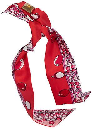 One Kings Lane Vintage Hermes Red Pink Pearls Silk Twilly Scarf - Vintage Lux