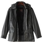 Excelled Men's Excelled Hooded Leather Parka