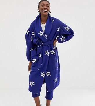 Asos Made In MADE IN KENYA star embroidered coat in wool mix-Blue