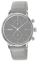 Dugena Men's Premium Quartz Watch with Grey Dial Chronograph Display and Grey Leather Strap
