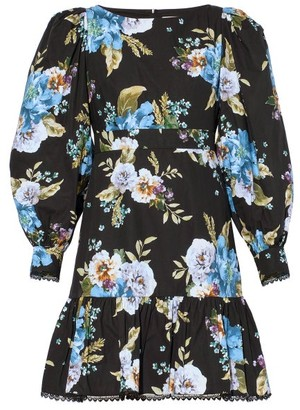 Erdem Rydal Flounced Carnation-print Poplin Dress - Black Print
