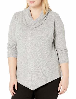 Amy Byer Women's Plus Size Cowl Neck Asymmetrical Hem Top