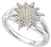 Lagos Sterling Silver & 18K Gold Star Ring with Diamonds, Size 7