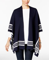 Charter Club Striped Open-Front Poncho, Only at Macy's