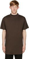 Robert Geller Brown Mock Neck T-Shirt