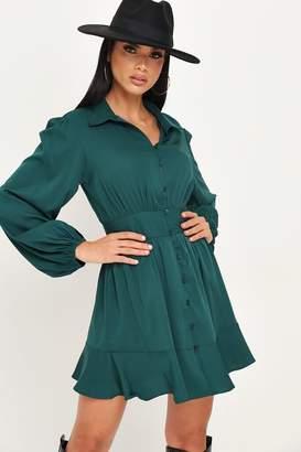 I SAW IT FIRST Emerald Green Long Sleeve Skater Shirt Dress