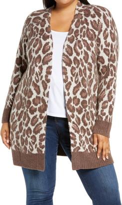 Bobeau Animal Pattern Cardigan