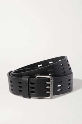 Saint Laurent Laser-cut Leather Belt - Black
