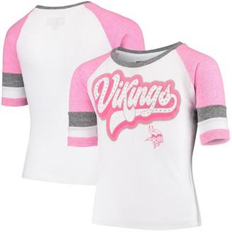 New Era Youth White Minnesota Vikings Rhinestone Tri-Blend 3/4-Sleeve Raglan T-Shirt