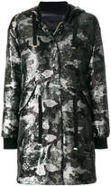 Herno sequinned camouflage hooded coat