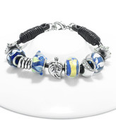 Swarovski Golden Moon Women's Bracelets Blue - Yellow & Blue Charm Leather Bracelet With Crystals