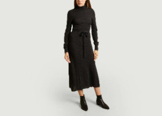 Le Mont St Michel Anthracite Long Remie Knit Dress - merino wool | anthracite | medium