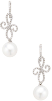 18K White Gold, South Sea Pearl & 0.62 Total Ct. Pave Diamond Earrings