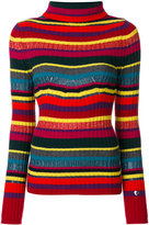 Twin-Set striped ribbed roll neck jumper - women - Polyamide/Polyester/Viscose/Metallic Fibre - M