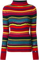 Twin-Set striped ribbed roll neck jumper - women - Polyamide/Polyester/Viscose/Metallic Fibre - S