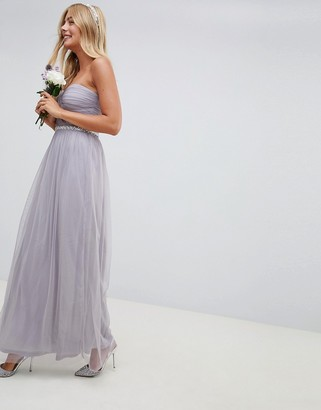 Asos Design DESIGN Bridesmaid bandeau mesh embellished waist maxi dress-Purple