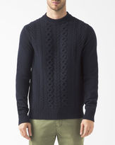 Ben Sherman Navy Blue Cable-Knit Wool Jumper