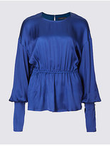 Limited Edition Satin Peplum Long Sleeve Shell Top