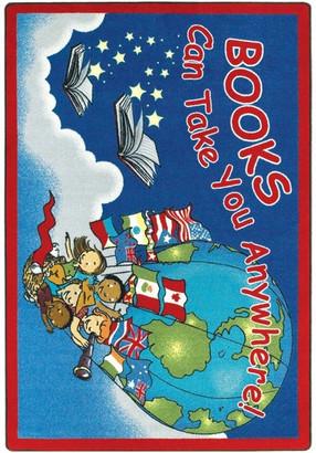"Joy Carpets Kid Essentials Rug, Books Can Take You Anywhere, 5'4""x7'8"""