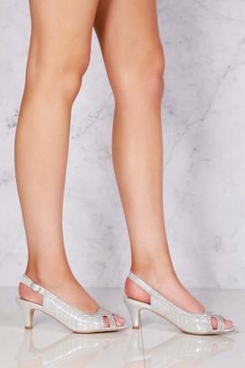 Miss Diva Tara low kitten heel open toe sling back shoe in Silver