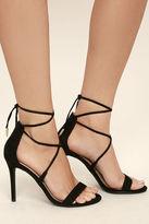 LuLu*s Aimee Dusty Rose Suede Lace-Up Heels