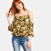 Romeo & Juliet Couture Floral Printed Cold Shoulder Top With Waist Tie