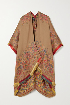 Etro Satin-trimmed Embroidered Wool-blend Jacquard Wrap - Beige