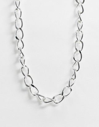 Pieces chunky chain necklace in silver