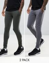 Asos Extreme Super Skinny Joggers 2 Pack Khaki/ Washed Black Save