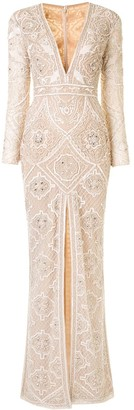 ZUHAIR MURAD Long Sleeve Embellished Gown