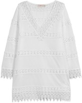 Tory Burch White Lace And Cotton Mini Dress