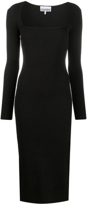 Ganni Rib-Knit Fitted Midi-Dress