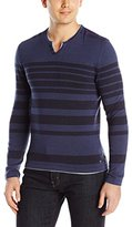 Buffalo David Bitton Men's Wallyred Long Sleeve Striped Henley Sweater