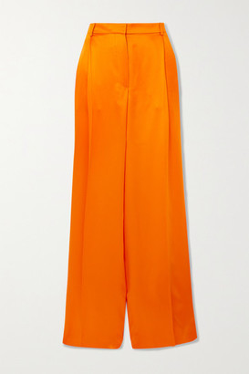 Nina Ricci Pleated Silk-satin Wide-leg Pants - Orange