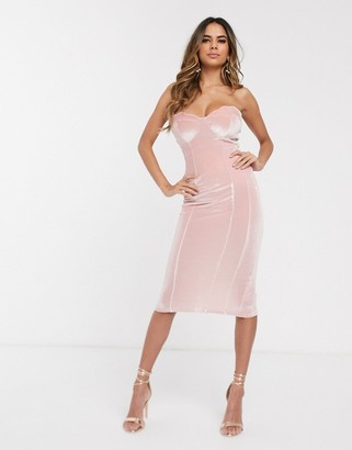 Asos Design DESIGN velvet scallop bandeau midi dress-Pink