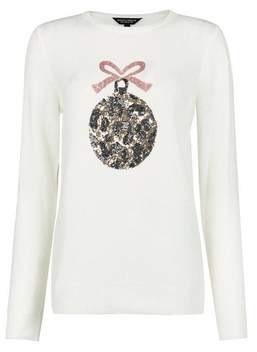 Dorothy Perkins Womens Ivory Sequin Leopard Christmas Bauble Jumper, Ivory
