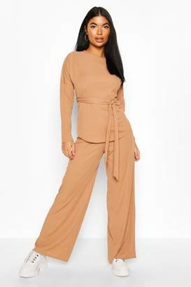 boohoo Petite Ribbed Belted T-Shirt & Wide Leg Co-Ord