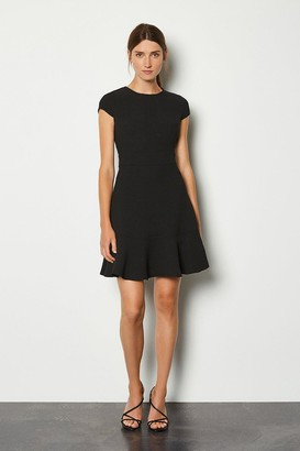 Karen Millen Top Stitch Cap Sleeve Flippy Hem Dress