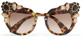 Miu Miu Crystal-embellished Cat-eye Acetate Sunglasses - Tortoiseshell