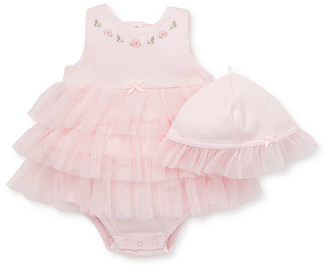 Little Me Girls' Rompers Pink - Pink Blossom-Accent Ruffle Skirted Bodysuit & Sunhat - Infant