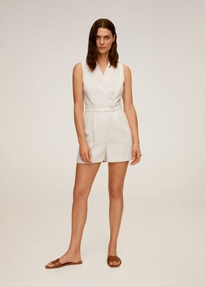 MANGO Wrap short jumpsuit light/pastel grey - XS - Women
