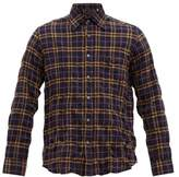 The Gigi - Check-embroidered Created Cotton-blend Shirt - Mens - Navy Multi